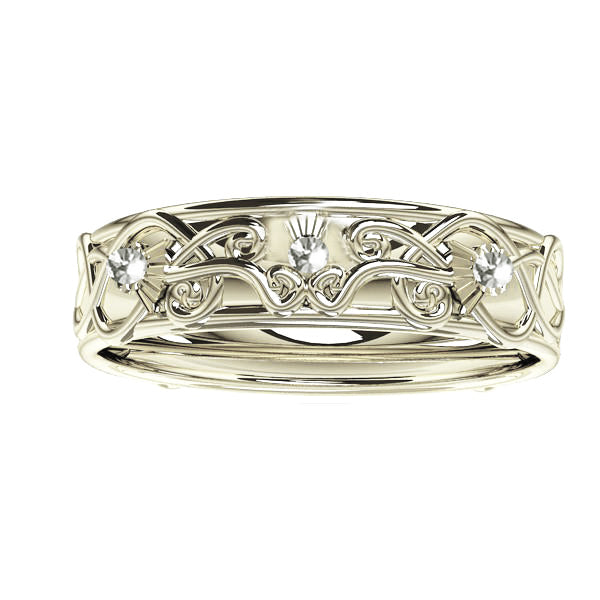 Scottish Thistle Edinburgh Celtic Ring with Diamonds in White Gold