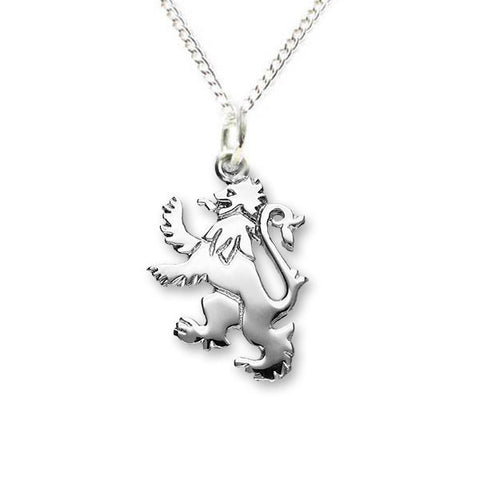 Small Lion Rampant Pendant in Sterling Silver