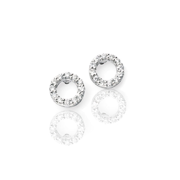 Diamond White Gold Pave set Round Open Stud Earrings