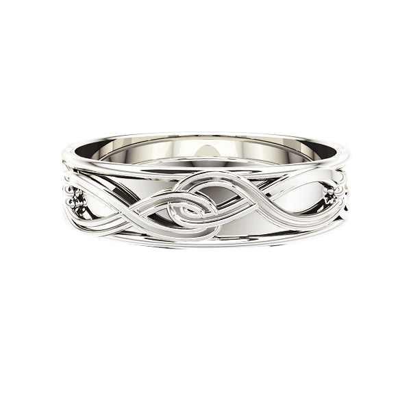 Edinburgh Celtic Love Knot Wedding Ring in White Gold