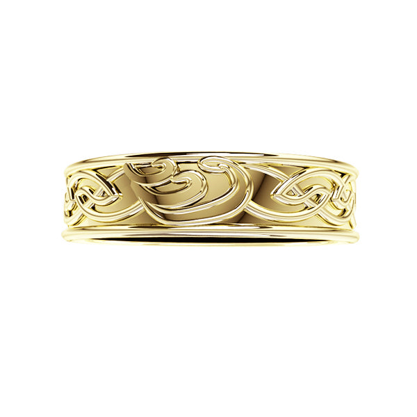 Edinburgh Celtic Waves Wedding Ring in yellow gold