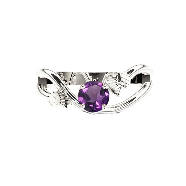 Scottish Thistle Sway Amethyst Engagement Ring in white gold