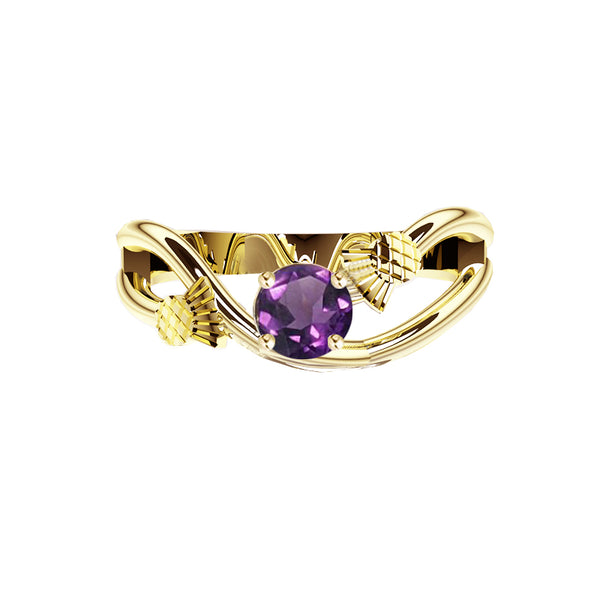 Scottish Thistle Sway Amethyst Engagement Ring in yellow gold