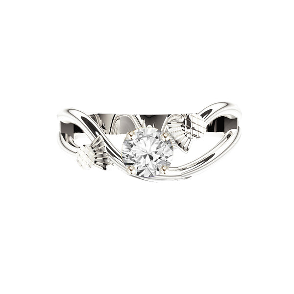 Scottish Thistle Sway Diamond Engagement Ring in white gold