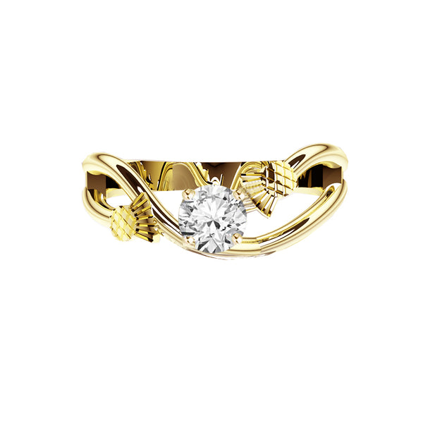 Scottish Thistle Sway Diamond Engagement Ring in yellow gold