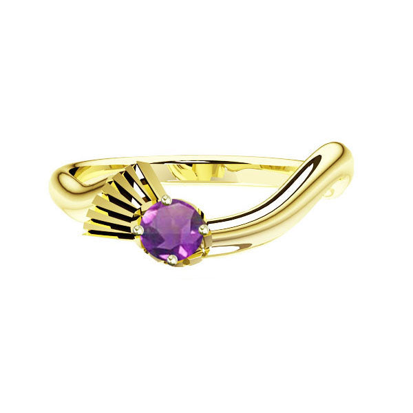 Flowing Scottish Thistle Amethyst Engagement Ring in Yellow Gold