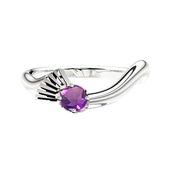 Flowing Scottish Thistle Amethyst Engagement Ring in silver