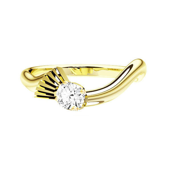 Flowing Scottish Thistle Diamond Engagement Ring in Yellow Gold