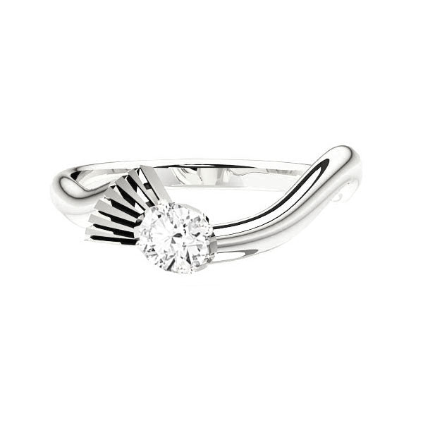 Flowing Scottish Thistle Diamond Engagement Ring in White Gold