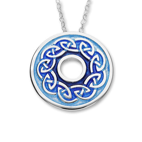 Round Celtic Knot Work Enamelled Sterling Silver Pendant