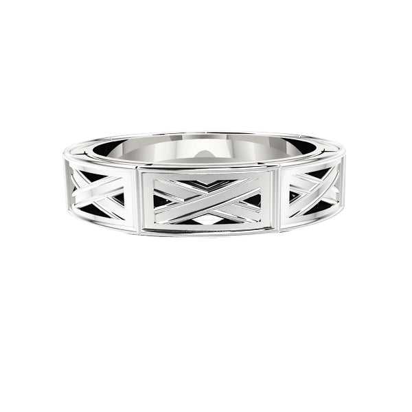 Edinburgh Saltire Wedding Ring in White Gold