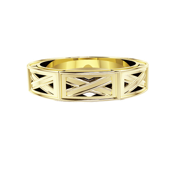 Edinburgh Saltire Wedding Ring Iin Yellow Gold