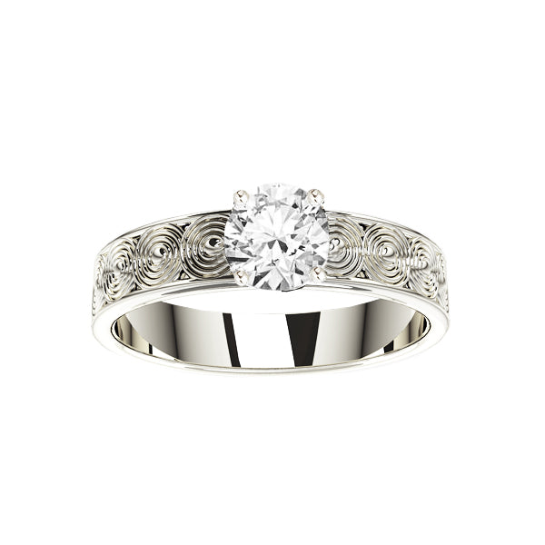 Edinburgh Spirals Diamond Engagement Ring in White Gold