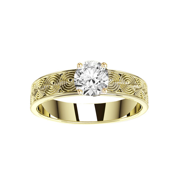 Edinburgh Spirals Diamond Engagement Ring in Yellow Gold