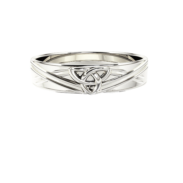 Edinburgh Celtic Trinity Knot Saltire Wedding Ring in White Gold