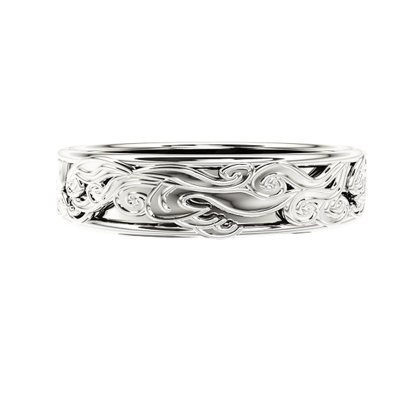 Edinburgh Waves Wedding Ring in White Gold