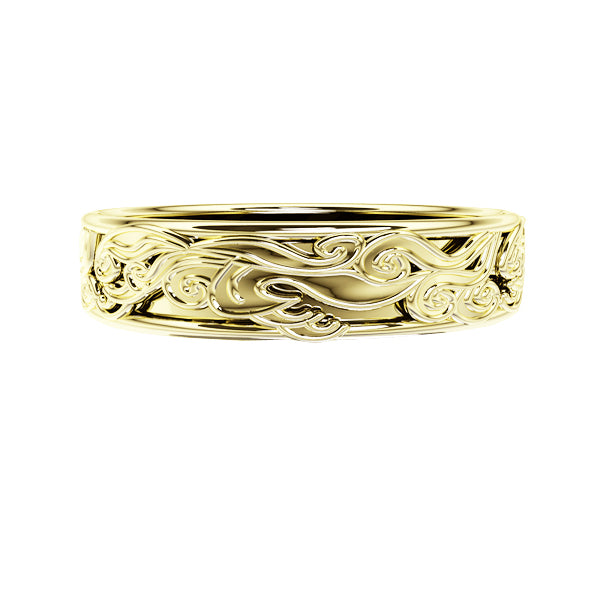 Edinburgh Waves Wedding Ring in Yellow Gold
