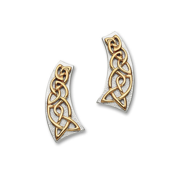 Celtic Knot Work Raised Earrings in Silver and Rose Gold Mix