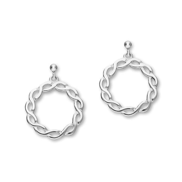 Celtic Knot Work Silver Round swirling Drop Earrings