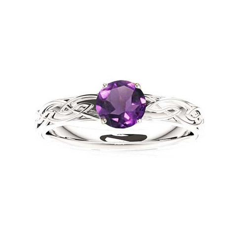 Edinburgh Celtic Flows Engagement Ring with Amethyst