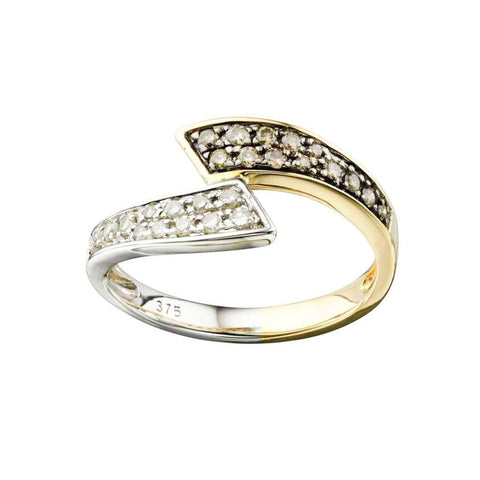 Diamond Torque Ring in Yellow and White Gold