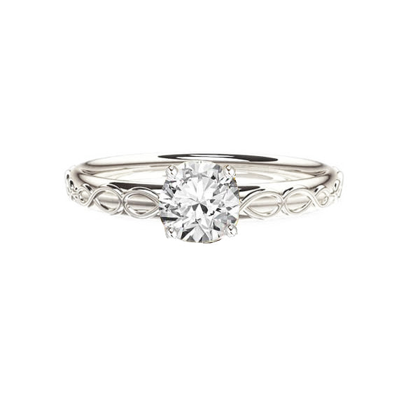 Infinity Celtic Diamond Engagement Ring in White Gold