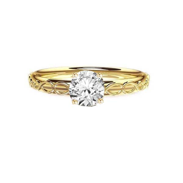 Infinity Celtic Diamond Engagement Ring in Yellow Gold