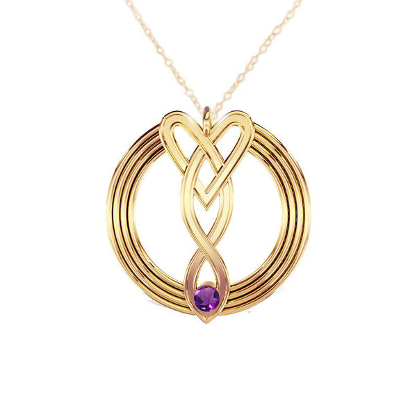 Celtic Infinity Heart Pendant with Amethyst in Yellow Gold