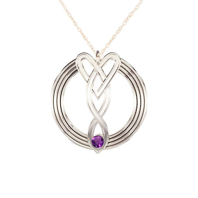 Celtic Infinity Heart Pendant with Amethyst