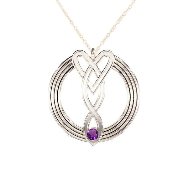 Celtic Infinity Heart Pendant with Amethyst in White Gold