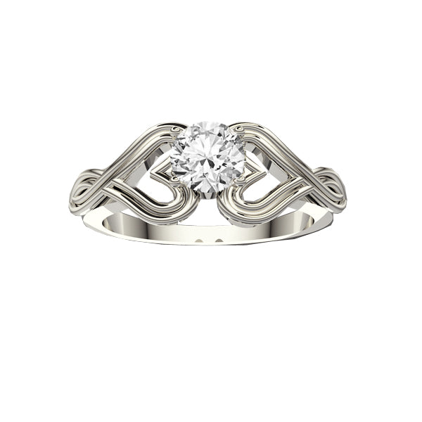 Infinity Heart Diamond Engagement Ring in White Gold