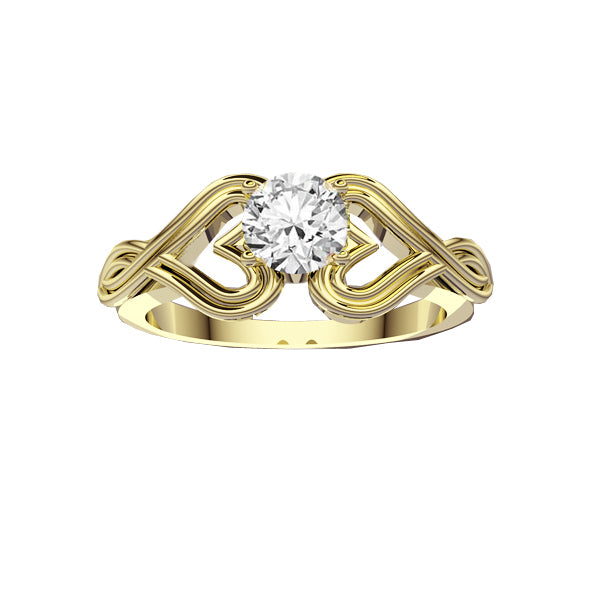 Infinity Heart Diamond Engagement Ring in Yellow Gold