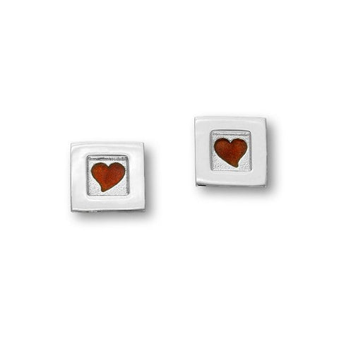 Square Enamelled Love Heart Stud Earrings