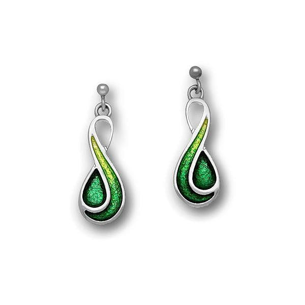 Green Swirl Enamelled Drop Earrings