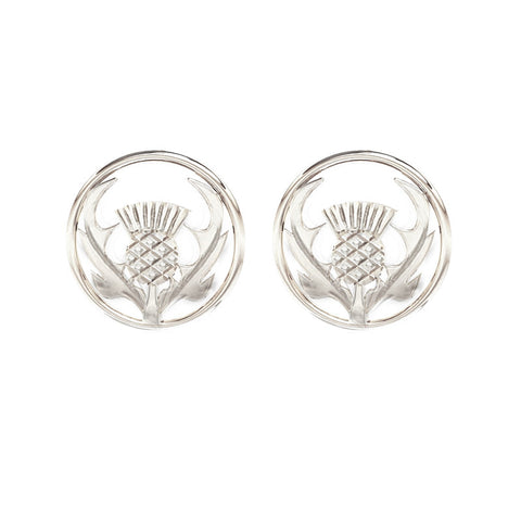 Round Scottish Thistle Earrings