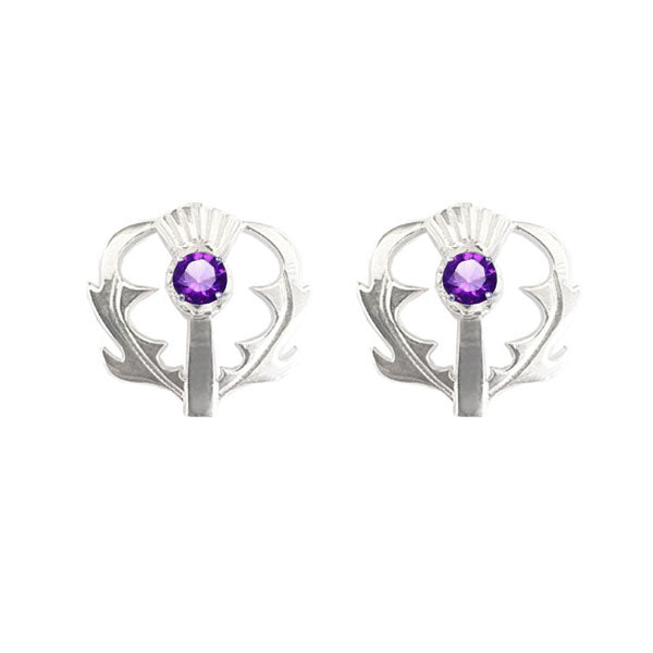 SCOTTISH THISTLE STUD EARRINGS WITH AMETHYST IN SILVER