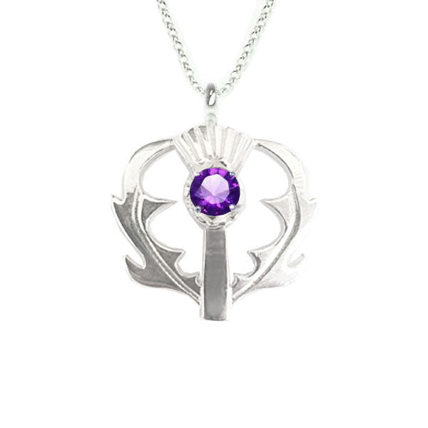 SCOTTISH THISTLE PENDANT WITH AMETHYST IN SILVER