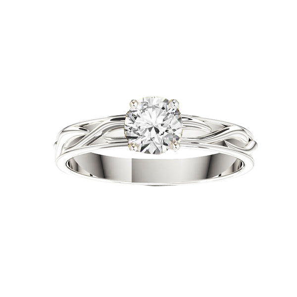 Narrow Celtic Twist Solid Engagement Ring in white gold