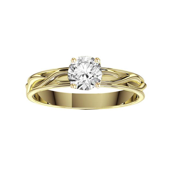 Narrow Celtic Twist Solid Engagement Ring in yellow gold