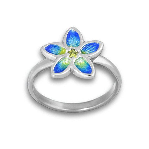 Yellow Cubic Zirconia Flower Ring In Silver