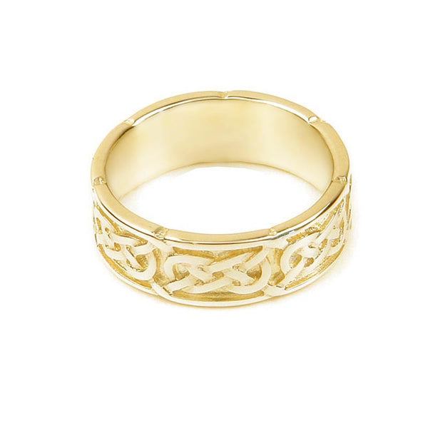 Celtic Interlace Flow Wedding Ring in 9 ct Yellow Gold- Tappit Hen Gallery