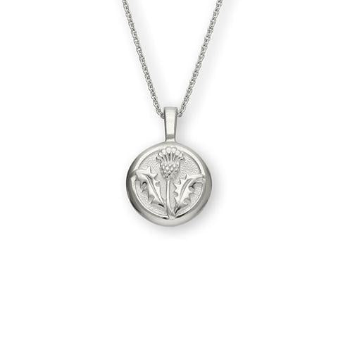 Solid Round Thistle Pendant in Sterling Silver