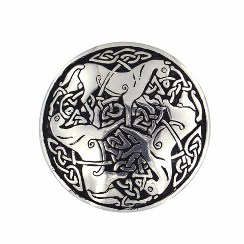 Pictish Horse Brooch In Pewter