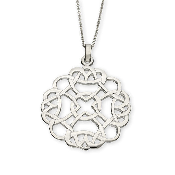 Celtic Entwined Heart Pendant in Sterling Silver