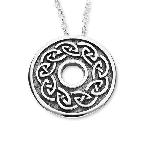 Round Celtic Knot Work Oxidised Sterling Silver Pendant