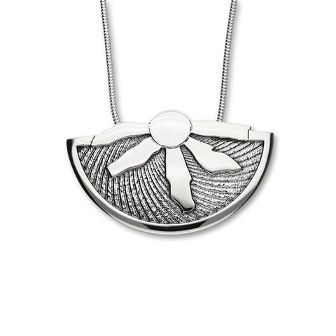 Ring of Brodgar Sterling Silver Oxidised Fan Pendant