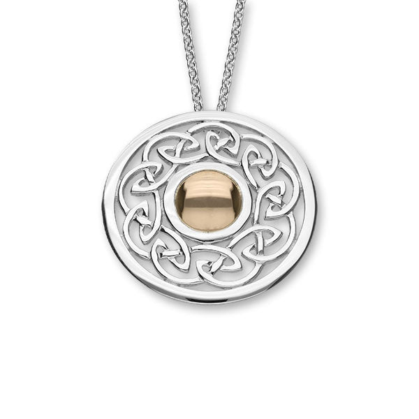Celtic Knot Work Pendant in Silver and Rose Gold Mix