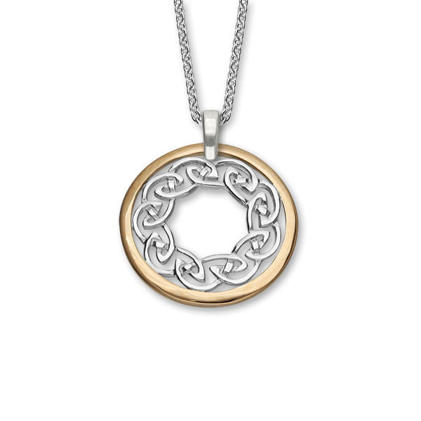 Large Celtic Knot Work Pendant in Silver and Rose Gold Mix