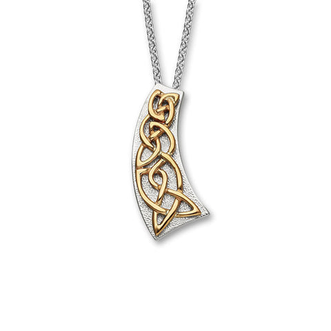 Celtic Knot Work Raised Pendant in Silver and Rose Gold Mix