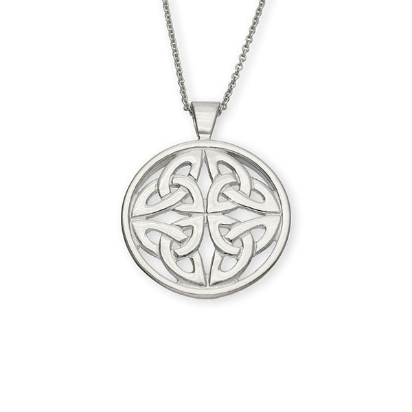 Four Trinity Celtic Knotwork Sterling Silver Round Pendant